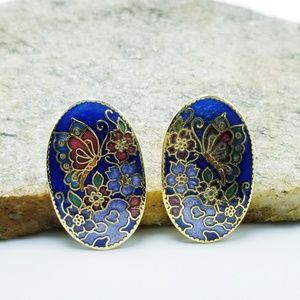 Vintage Cloisonne Earrings Butterfly Earrings Blue